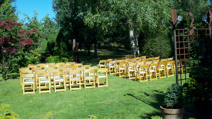 chairs for a wedding in a garden