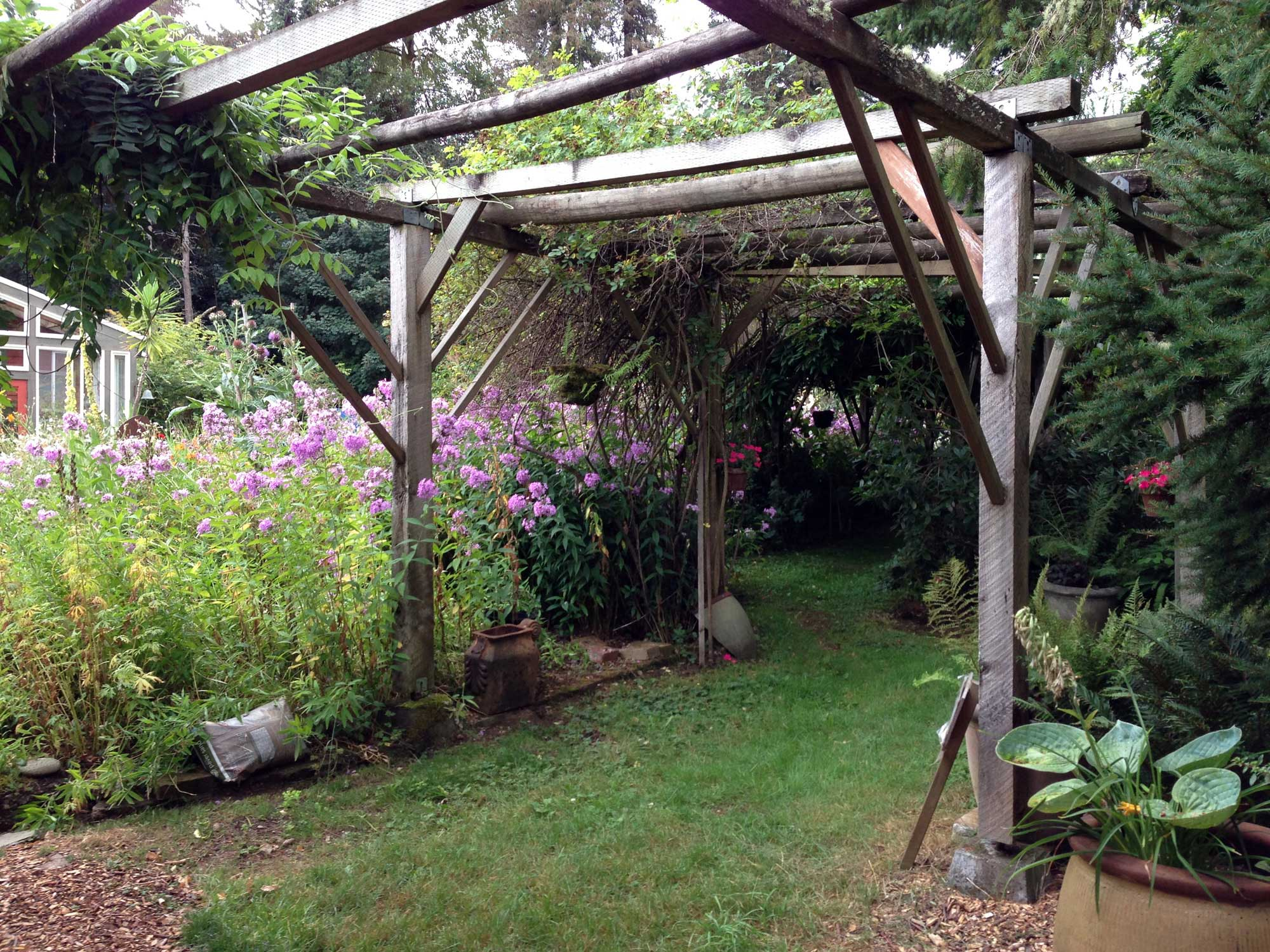 Large garden arbor with flowers