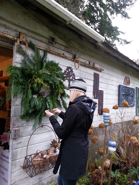 holiday wreath and garden art