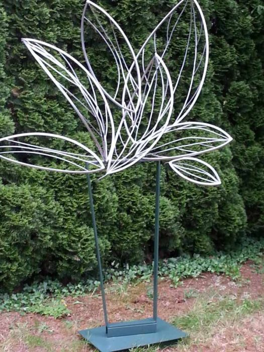 Leaf sculpture by Dennis Warshal at Bassetti's Crooked Arbor Gardens