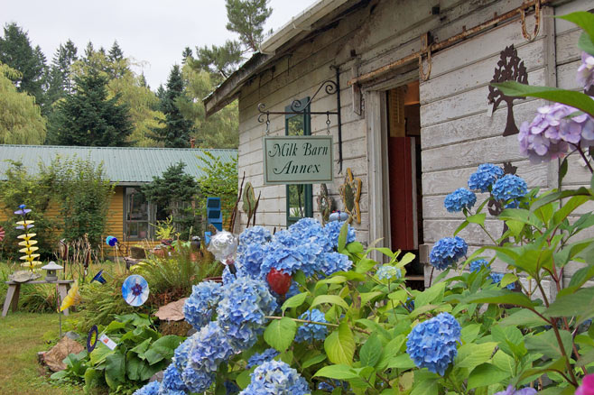 Charming rustic building with blue hydrangeas