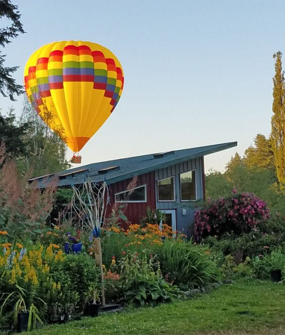 Hot air balloon over Bassetti's Crooked Arbor Gardens