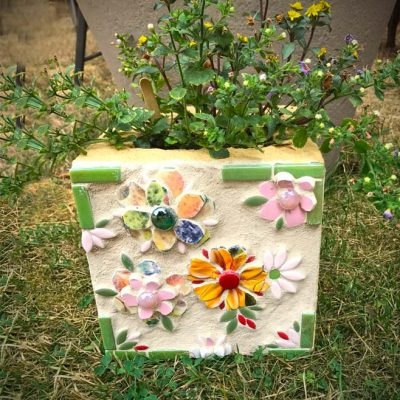 colorful mosaic cinder block planter
