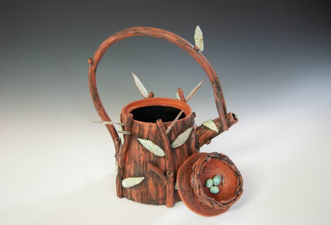 Ceramic teapot with bird's nest by Judy Thomas