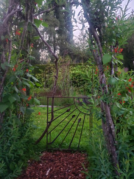Bassetti's Gardens, vegetable garden, willow arbor